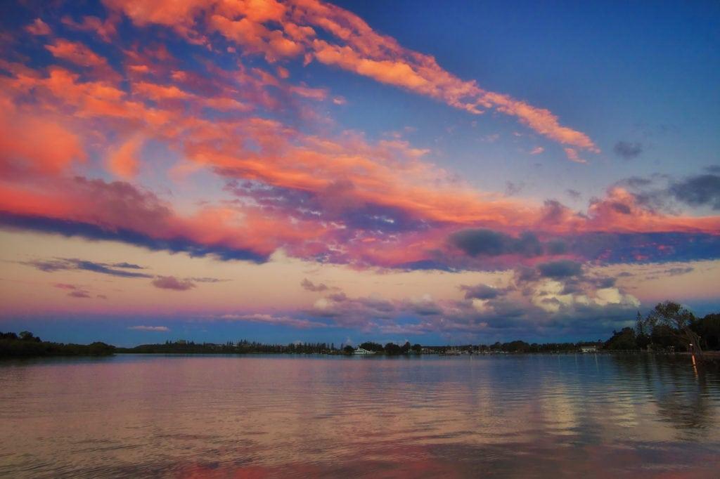 Sunset over the river Yamba